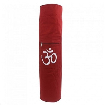 Yoga Mat Bag With Hand Embroidered Zipper Closing Red
