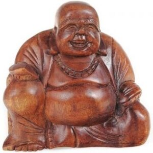 Hand Carved Wooden Laughing Buddha